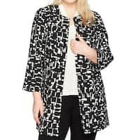 Kasper Black Women's Size 14W Plus Abstract Print Topper Jacket