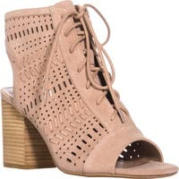 Steve Madden Gavell Lace Up Heeled Sandals, Camel Suede