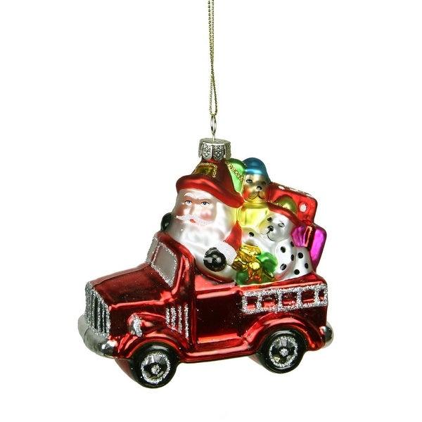 "3.5"" Glass Santa in Fire Truck Decorative Christmas Ornament - RED"