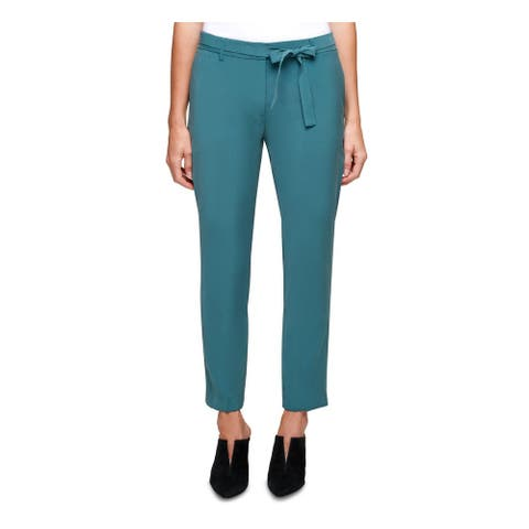 DKNY Womens Green Belted Straight leg Pants Size 6
