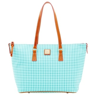 Dooney & Bourke Small Gingham Zip Top Shopper (Introduced by Dooney & Bourke at $248 in Jan 2016) - Sea Foam