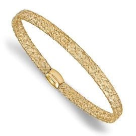 Italian 14k Gold Fancy Stretch Bangle Bracelet