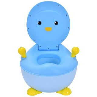 Gymax Blue Penguin Portable Kids Baby Potty Toilet Training Seat