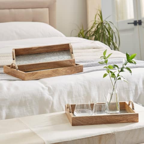 Brown Wood Contemporary Tray (Set of 3) - 17 x 12 x 4