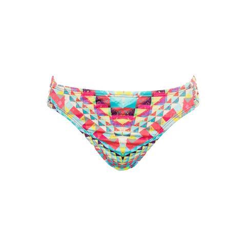 Bar Iii Pink Multi Printed Side-Tab Hipster Bikini Bottom M