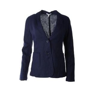 Eileen Fisher Womens Linen Notch Collar Two-Button Blazer