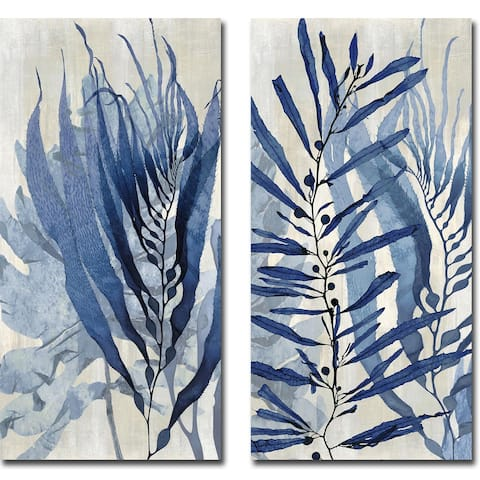 Sea Nature in Blue I & II by Melonie Miller 2-pc Gallery Wrapped Canvas Giclee Set (16 in x 8 in Each Canvas in Set)