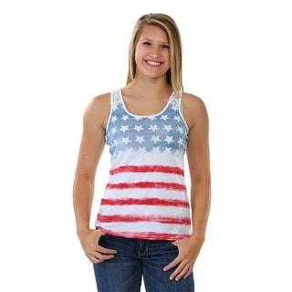 American Flag Juniors Crochet Back Tank