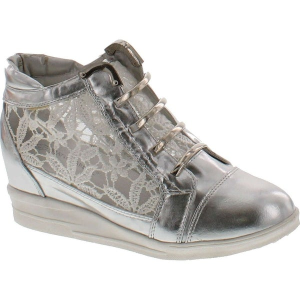 Nature Breeze Knight-02 Leatherette Lace Metal Accent Wedge Fashion Sneaker - Silver
