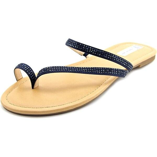 INC International Concepts Mistye 2 Women Open Toe Canvas Blue Flip Flop Sandal