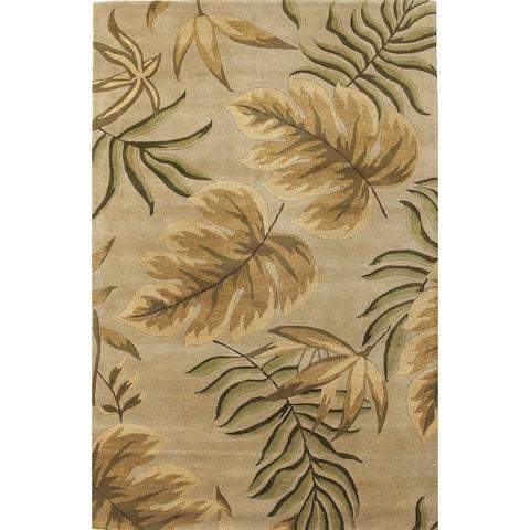 Domani Camila Sand Botanical Hand-tufted Wool Area Rug