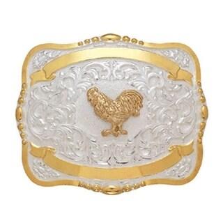 Crumrine Western Belt Buckle Kids Child Rooster Gold White 384