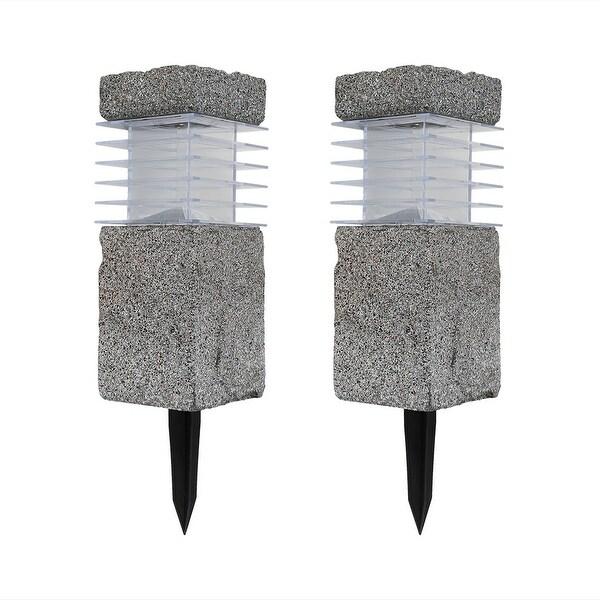 Sunnydaze Outdoor Solar Cement Bollard Light - Set of Two
