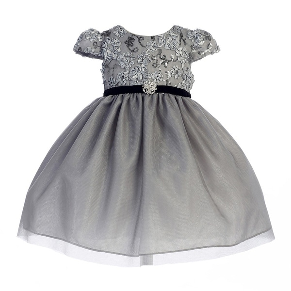 Crayon Kids Baby Girls Silver Sequin Floral Embroidered Christmas Dress 18M
