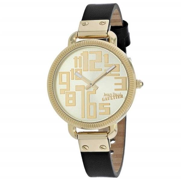 Jean Paul Gaultier Women's 8504307 'Index' Black Leather Watch - Rose-Tone. Opens flyout.