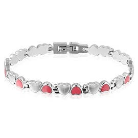 Pink and Silver Heart Stainless Steel Bracelet (6.5 mm) - 8.25 in