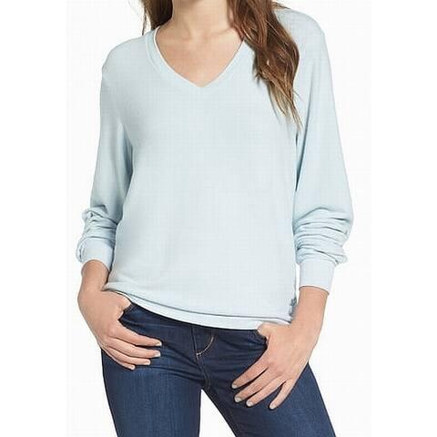 Wildfox Light Womens Fleece Long Sleeve V-Neck Sweater