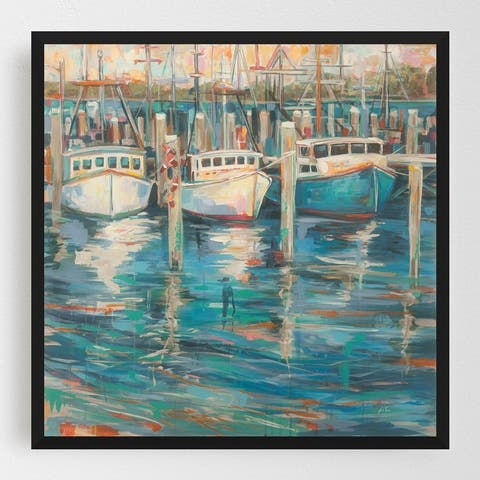Beach Boats Coastal Fishing Nautical Framed Wall Art Print