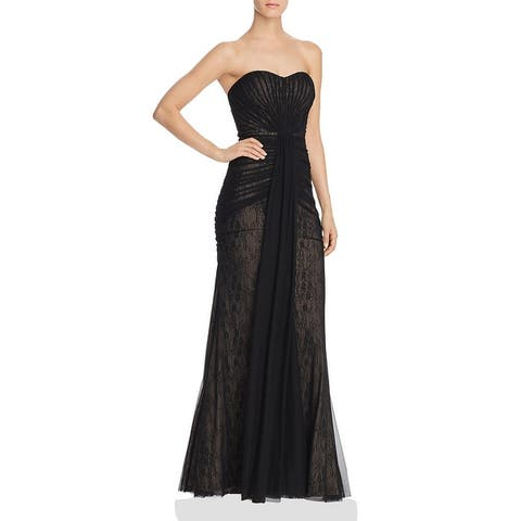 Aidan Mattox Womens Evening Dress Tulle Ruched - Black/Nude