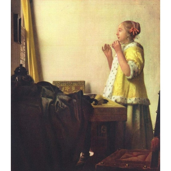 Easy Art Prints Johannes Vermeer's 'Woman with a pearl necklace' Premium Canvas Art