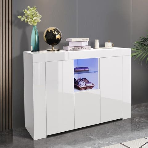 White High Gloss Dining Room Buffet Storage Cabinet Hallway Living Room TV Stand Unit Display Cabinet with Drawer and 2 Doors