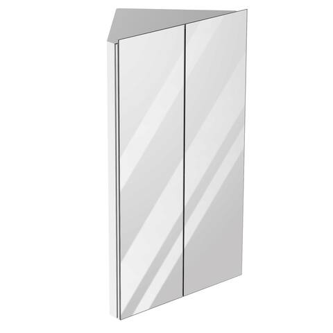 kleankin Corner Mirror Cabinet Wall Mounted with Double Doors and 3 Shelves, Multipurpose Storage Organizer for Bathroom
