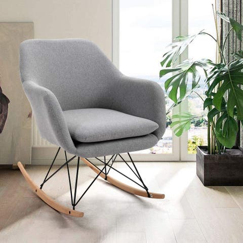 Rocking Chair, Soft Fabric Upholstered Modern Armchair