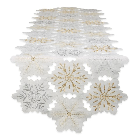 """Embroidered Snowflakes Table Runner 14x108 - Table Runner, 14x108"""""""