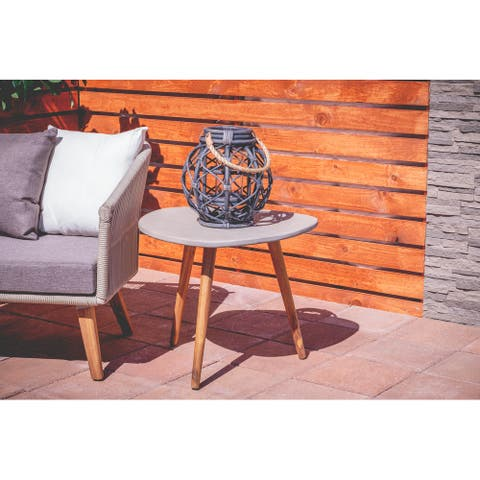 Grey Resin Modern Outdoor Accent Table 19 x 24 x 24 - 24 x 24 x 19