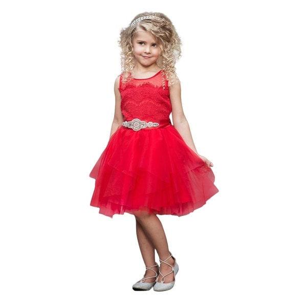Think Pink Bows Baby Girls Red French Lace Fairy Tale Flower Girl Dress 1Y