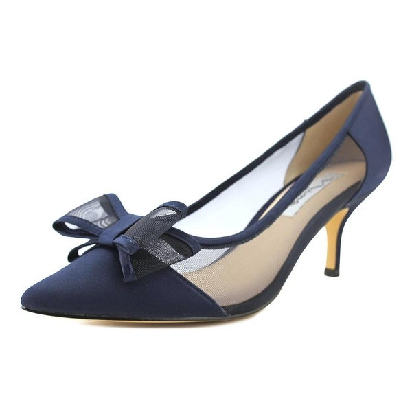 Nina Bianca Women Pointed Toe Canvas Blue Heels