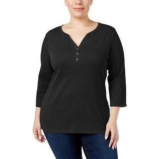 Karen Scott Womens Plus Pullover Top Cotton 3/4 Sleeves