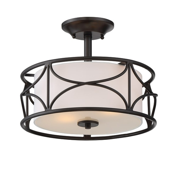 """Designers Fountain 88611-ORB Avara 2-Light 13"""" Wide Ceiling Fixture with Fabric Shade - Oil Rubbed bronze - n/a"""
