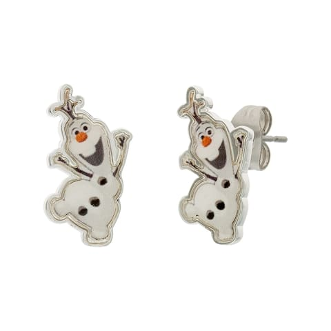 Disney Frozen Olaf The Snowman Fine Silver Plated Stud Earrings