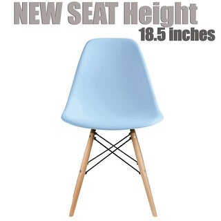 2xhome Blue - Eames Style Molded Bedroom & Dining Room Side Ray Chair with Natural Wood Eiffel Legs Base