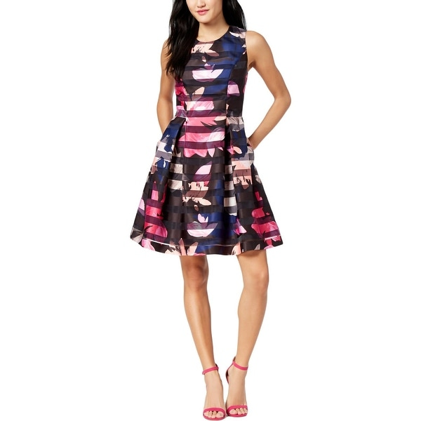 Vince Camuto Womens Party Dress Shadow Stripe Floral Print