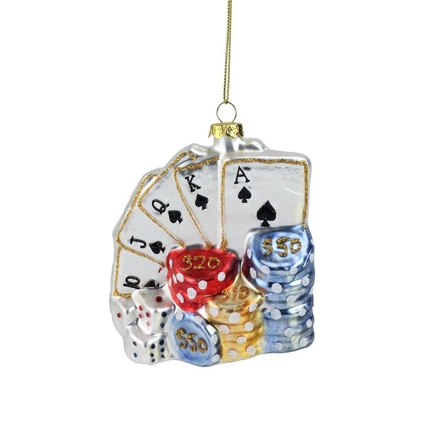 "4"" Silver Playing Cards with Dice and Chips Poker Christmas Ornament"