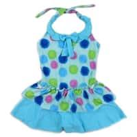 Wenchoice Little Girls Blue Multi Flower Ruffle One Piece Swimsuit