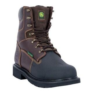 "John Deere Boots Men's 8"" Fire Retardant Steel Toe Lace Up 8375 Boot Dark Chocolate Rough Neck Leather"
