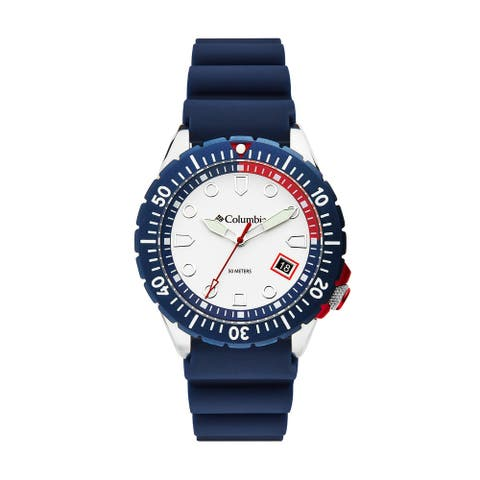 Columbia Pacific Outlander White 3-Hand Date Navy Silicone Watch