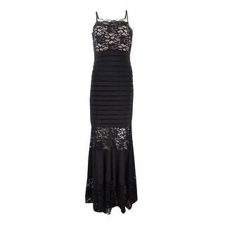 Xscape Women's Spaghetti Shutter Jersey Lace Gown