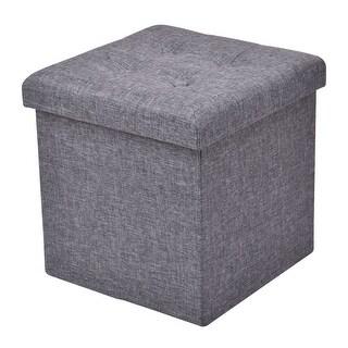 Gymax Gray Folding Ottoman Storage Stool Footrest Furniture