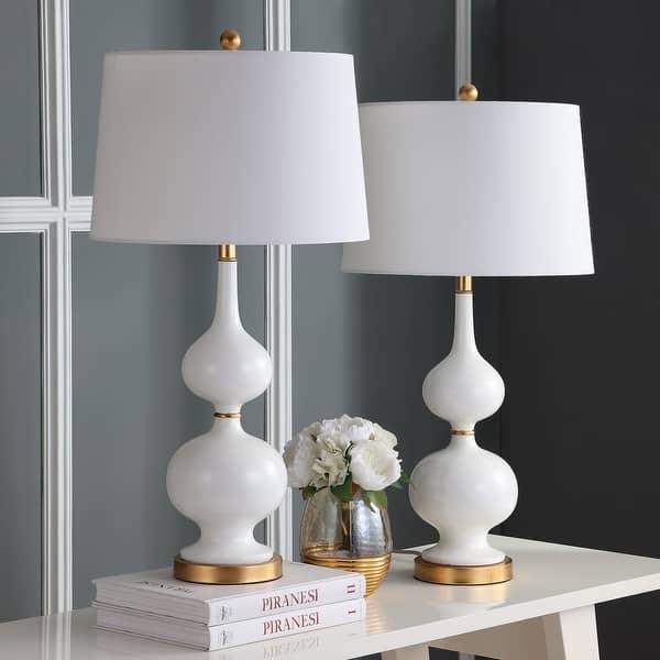 Safavieh Lighting 31 Inch Myla White Gold Led Table Lamp Set Of 2 Overstock 23614790