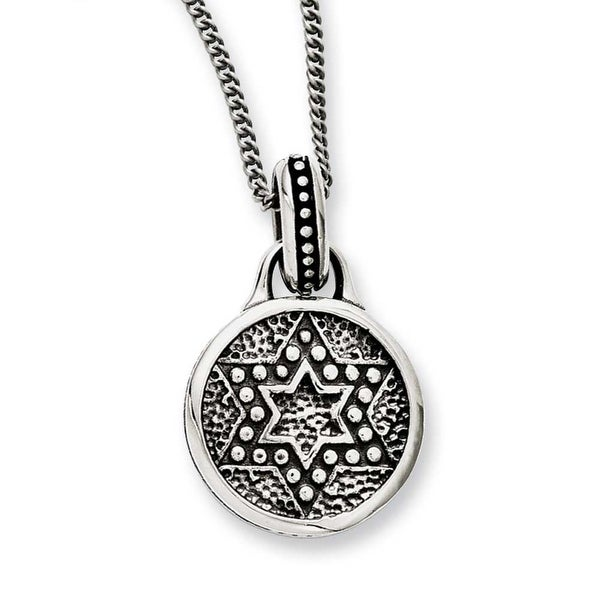 Chisel Stainless Steel Antiqued & Polished Star of David Necklace (2 mm) - 22 in