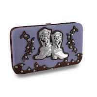Western Style Studded Hard Case Wallet w/Rhinestone Boots Accent