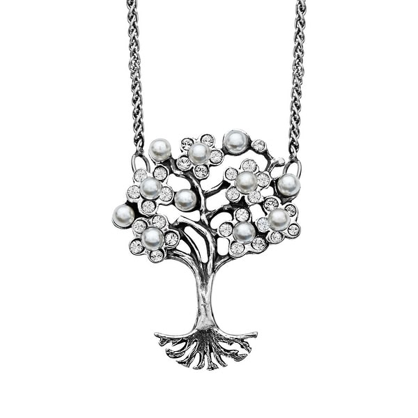 Van Kempen Art Nouveau Simulated Pearl and Swarovski Elements Crystals Tree of Love Necklace in Sterling Silv