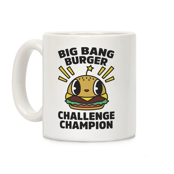 Bang Burger Challenge Champion White 11 Ounce Ceramic Coffee Mug By Lookhuman