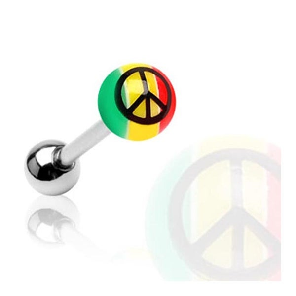 Surgical Steel Barbell with UV Rasta Colored Ball with Peace Sign Print (Sold Individually) - 14 GA