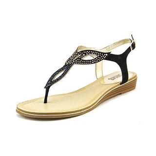 Carlos by Carlos Santana Trista Women Open Toe Canvas Black Thong Sandal