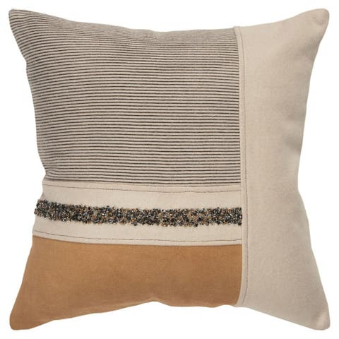 """Rizzy Home Beige Patch Work 20""""X 20"""" Decorative Pillow"""